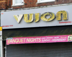 Shop Sign in Croydon Vujon Restaurant